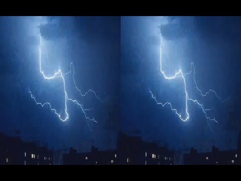 Lightning 3D ! Exclusive Footage Of A Stormy Sky ! 3D VIDEO
