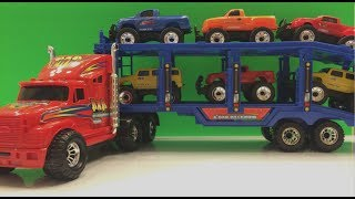 Monster Truck Hauler Hauls 6 six 4x4 monster truck toys and unloads them one by one