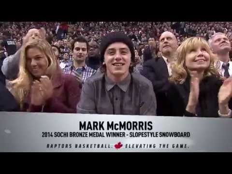 Mark McMorris gets celebrity treatment from the Toronto Raptors.