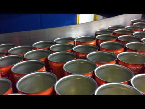 AmbaFlex Spiral Conveyor SVm with empty soda cans