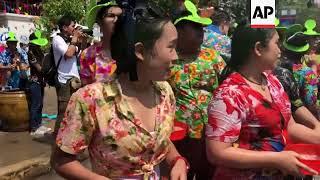 Elephants splash water at revellers as Thailand celebrates Songkran