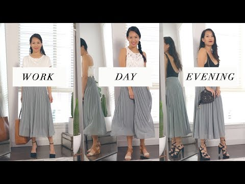 How to STYLE 1 SKIRT into  WORK, DAY , EVENING outfits| ANN LE