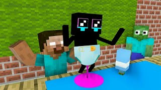 Monster School - ENDERMAN BABY CHALLENGE - Minecraft Animation