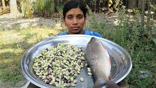 Fish Curry | Rui Fish and Bean Seeds Recipes | Bengali Fish Recipe Cooking By Street Village Food
