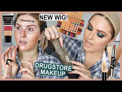 full face of DRUGSTORE makeup! ? and a NEW WIG!!