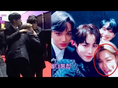Ha Sung Woon runs into BTS's Jimin, EXO's Kai and SHINee's Taemin during 2017 MAMA on Wanna One