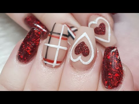 Acrylic Nails - Textured Hearts - Tartan & Glitter
