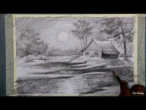 Beginners Drawing | How to Draw A Moonlit Night Scenery in Pencil