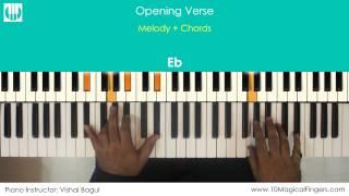 Main Hoon Hero Tera Piano / Keyboard Tutorial with Notation Sheet   www.10MagicalFingers.com