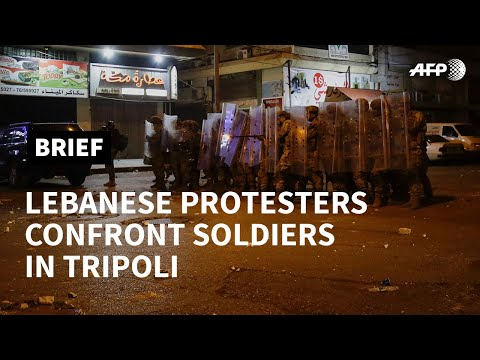 Tripoli: protesters hurl rocks, soldiers shoot rubber bullets   AFP photo