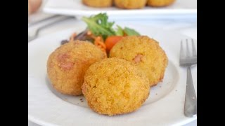 Italian Arancini with Ham and Mozzarella Cheese by Cooking with Manuela