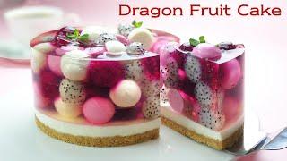 No-Oven / No-Egg / 과일 젤리 치즈케이크 / Beautiful Dragon Fruit Jelly Cheesecake Recipe / 용과 케이크 / 컵 계량