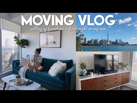 MOVING VLOG | setting up my furniture, huge grocery haul + first night living alone 🎉
