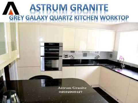 Grey Galaxy Quartz Kitchen Worktop In London UK - Astrum Granite