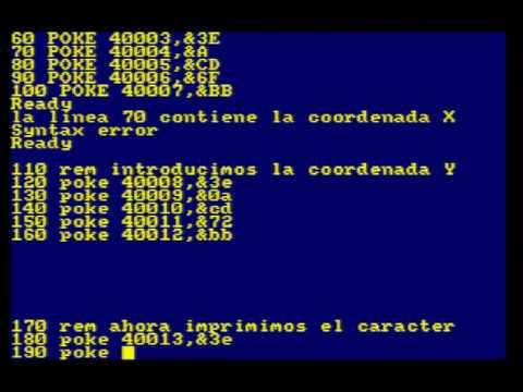 CODIGO MAQUINA AMSTRAD CPC #2  PONER UN CARACTER EN LA PANTALLA