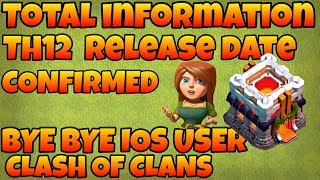 Clash of clans TH 12 release date confirmed,bye bye ios user total information(hindi)sam1735
