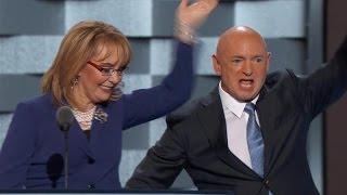Mark Kelly and Gabrielle Giffords urge gun control at the DNC