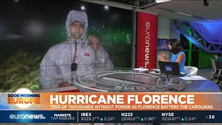 Hurricane Florence begins to batter the Carolinas