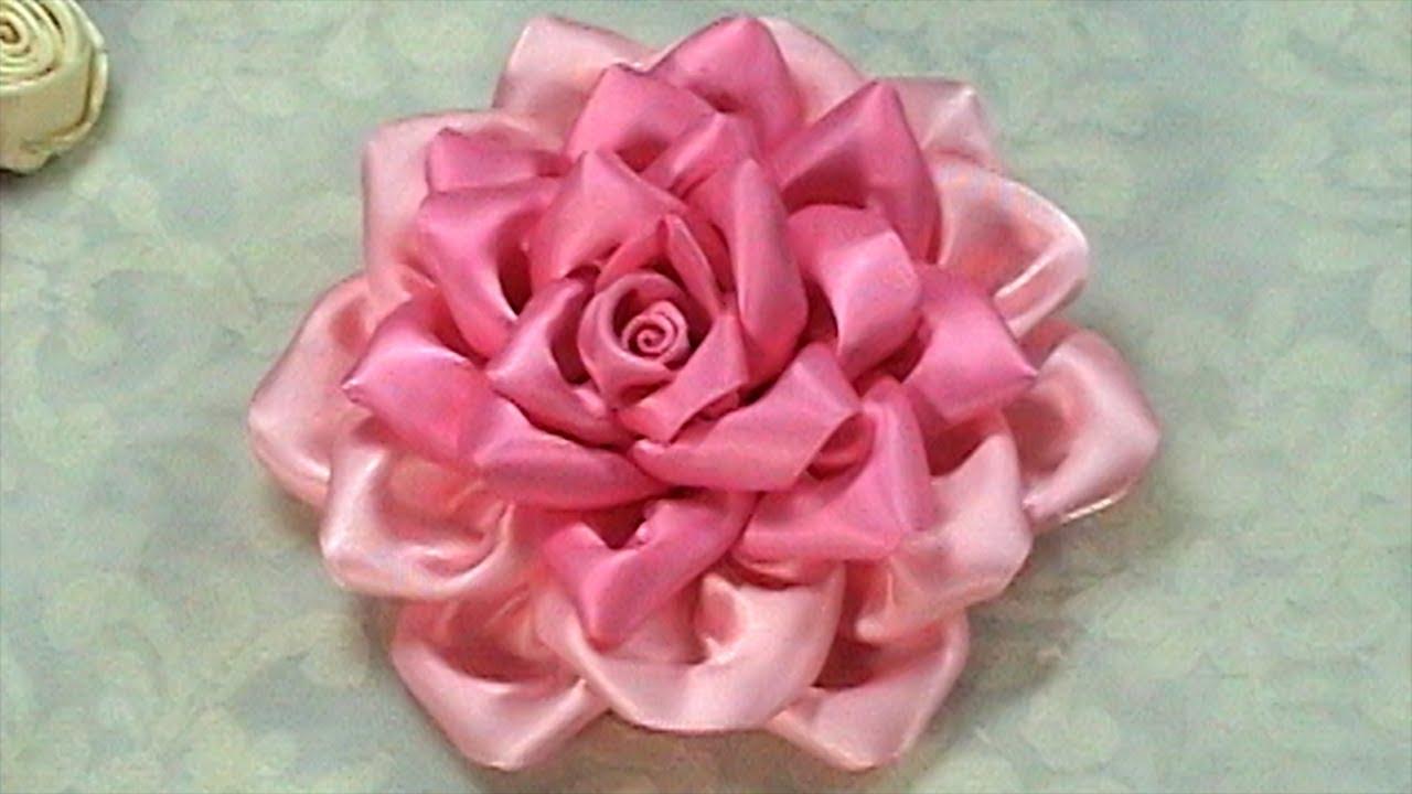 How To Make Kanzashi Flower Ribbon Rose Tutorial Diy