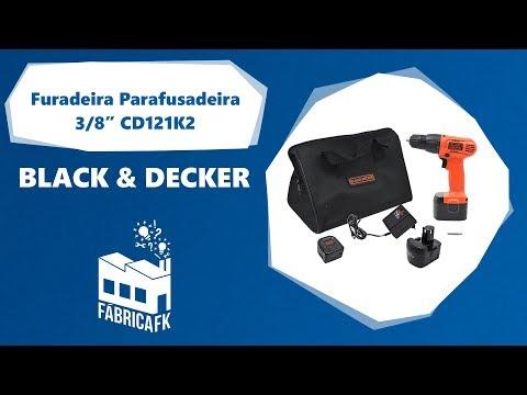 """Furadeira Parafusadeira 3/8"""" 12V CD121K2 Black&Decker Bivolt - Vídeo explicativo"""
