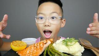 Dijon Salmon & Creamy Mashed Potatoes Mukbang | N.E Let's Eat