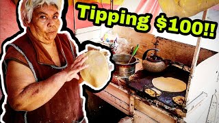 INCREDIBLE Mexican Street Food - TIPPING $100 Dollars - Hardworking Mexican Vendor - Tacos, Gorditas