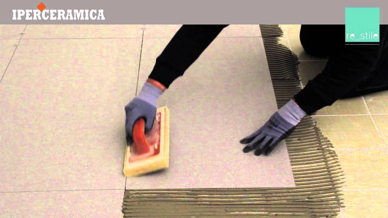 Posa pavimento gres sottile iperceramica youtube for Gres porcellanato leroy merlin
