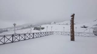 Fast heavy snowfall in auli 2017