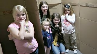 SARDINES IN A HUGE BOX FORT MAZE!   HIDE AND SEEK