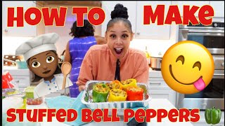 COOKING AND TRYING STUFFED BELL PEPPERS!