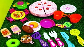 MINI BEAUTIFUL KITCHEN PLAY SET WITH PINK CAKE ICE CREAM,,DOUGHNUTS AND PRETEND FOOD