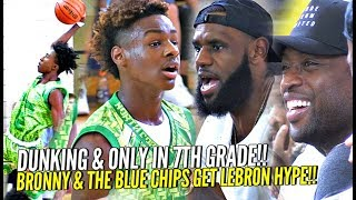 LeBron James & D-Wade Watch Bronny GET SHIFTY & CRAZY Dunking 7th Grader!! SHAREEF WAS THERE TOO!