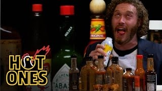 T.J. Miller Talks Deadpool, Hecklers, and Relationship Advice While Eating Spicy Wings | Hot Ones