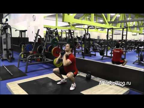 Приседания с гантелей или гирей на груди. Техника выполнения упражнения. Обучающее видео