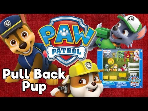 Paw Patrol Pull Back Racers Pups Gift Set Chase, Marshall & Rubble Toy Unboxing