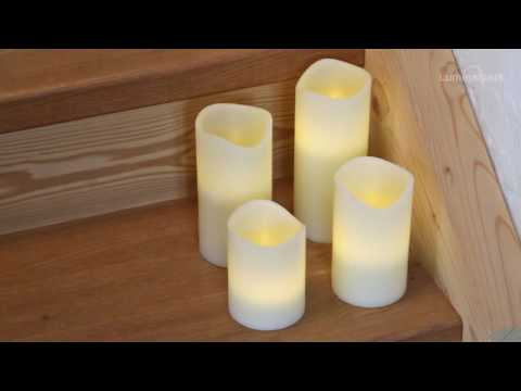 Set 4 candele in cera avorio, led bianco caldo (cod. 36543)