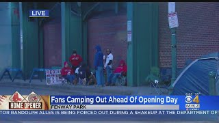 Fans Camp Out Outside Fenway Park Before Opening Day