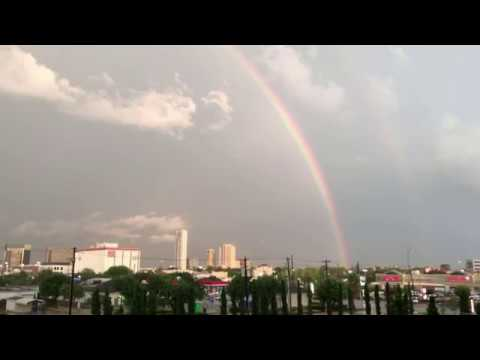 Houston weather: Lightning in a rainbow