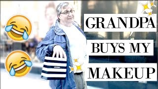 GRANDPA BUYS MY MAKEUP! | allanaramaa
