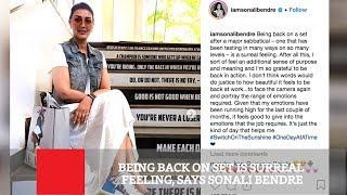 Emotional Sonali Bendre returns to the set after cancer tr..