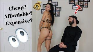 Boyfriend guesses CHEAP vs. EXPENSIVE BIKINIS  || Take a guess!