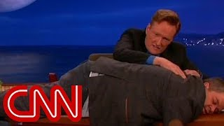 Conan goes wild during Letterman's last show