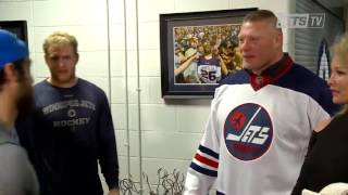 Brock Lesnar backstage at a hockey game