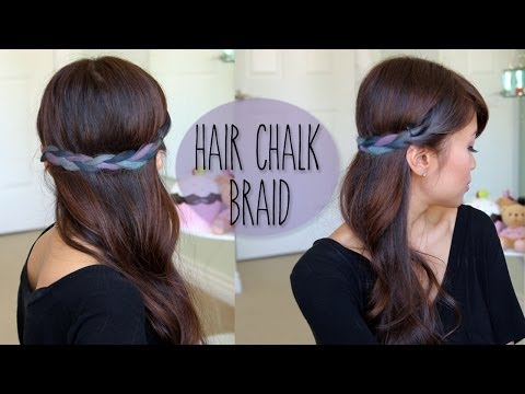 DIY: Rainbow Braid Hairstyle - Splat Hair Chalk Tutorial - Bebexo  - IFrYTypLGuk -