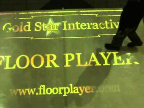 Interactive Floor in Shopping mall. Fire effect.