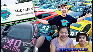EDIERALD : REACTS to MR. BEAST VIDEO 40,0000,000 Subscriber - 40 Cars