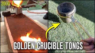 Casting GOLDEN Crucible Tongs - Melting Aluminum Bronze At Home
