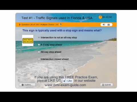 Florida Drivers Handbook >> Florida DHSMV Learner Driving License Test #1 (Part 1) - Practice Exam - Traffic Signals - YouTube