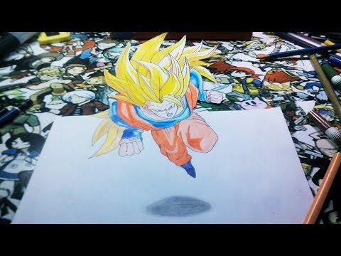 Desenhando Goku 3D Super Saiyajin 3 Speed Art