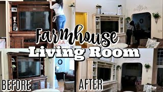 FARMHOUSE LIVING ROOM MAKEOVER 2019   DECORATE WITH ME     DIY CHALK PAINT FURNTURE